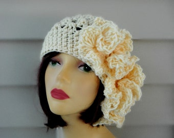 Womens Crochet Hats Flapper Style Hats Crochet Beanie Winter Hat Woman Women's Hat Crochet