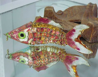Articulated Koi Fish Gold Vermeil Colorful Enamel Over 4 Inches Long