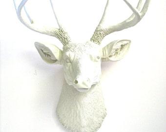 Off-White/Cream Faux Taxidermy Deer Head:  Deerman the Deer Head wall mount wall hanging home decor