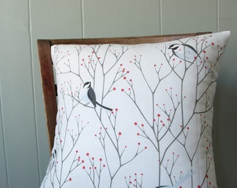 Maine Chickadees with Winter Berry Branches Printed Pillow in Red and Gray16x16