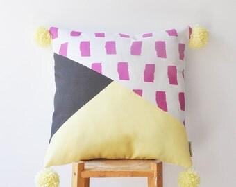 """Decorative Pillow, Kids Pillows, Modern Nursery Pillow, Teen Pillow, Geometric Throw Pillow 16"""" x 16"""""""