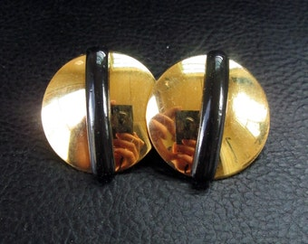 Round geometric earrings, vintage gold tone and black Lucite Monet earrings, 80s jewelry
