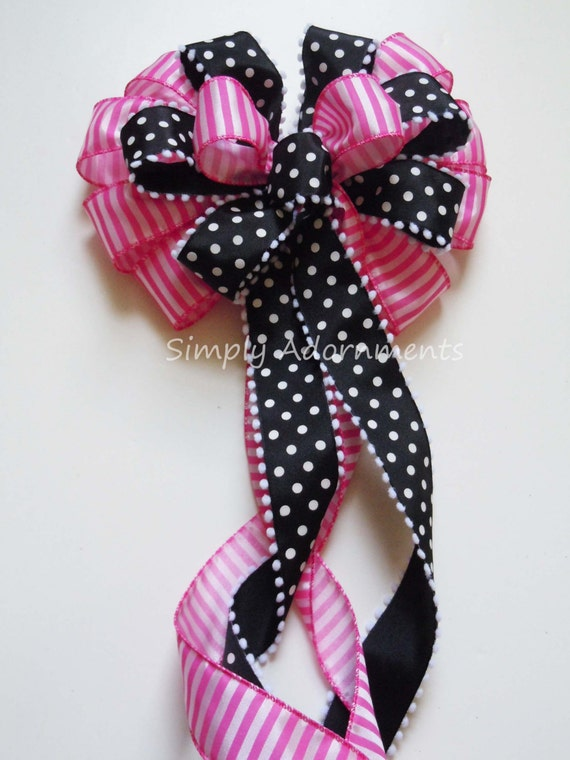 Black pink Spring wreath bow Black Pink Birthday Girls Party Decoration Pink Bladk Dots Party Decor Bow Fuchsia and Black Bridal Shower Bow