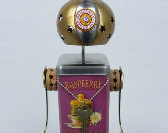 "Junk Art ""Raspberry Gypsy"" Found Object Robot Sculpture - Folk Art - Mixed Media"
