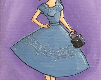"Sally - Original Acrylic Painting on canvas - Retro Pinup Girl in Blue Dress 5"" x 7"""