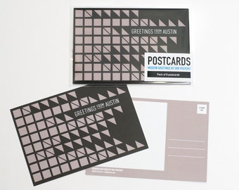 Austin, Texas Modern Patterned Postcards (Pack of 8)