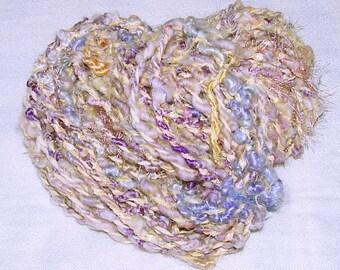 Handspun Bulky Textured Art Yarn- Lemon Drop Violets