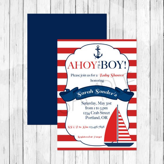 theme baby shower invitation or evite ahoy it 39 s a boy digital file