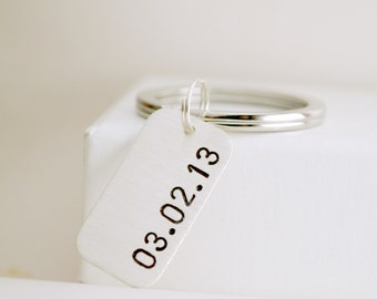 Custom Date Anniversary Gift for Him or Her - Sobriety Date Keychain - Sober Gift Him or Her - Hand Stamped Sterling Silver Keychain