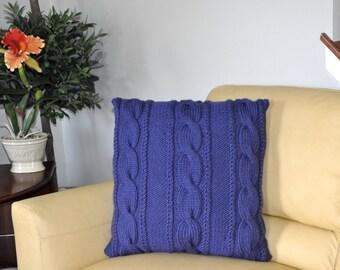 Blue Pillow Case 22X22 Square Pillow Knit Pillow Cable Pillow Case