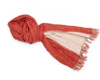 Red scarf with white dots, linen scarf, natural scarf, women man  accessory