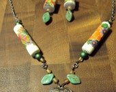 Floral Locket Necklace & Earrings with Recycled Vintage Beads