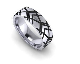 Sterling Silver 8mm Wide Distorted Rays Band
