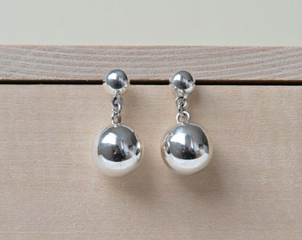 Silver ball earrings, sterling silver ball studs, sterling silver earrings, simple modern jewelry, gift for her, crash duchess, princepessa
