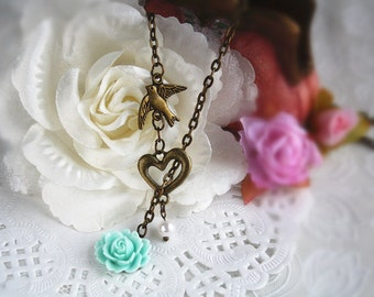 flying bird adjustable necklace bridesmaid gift heart vintage flower rose cottage chic charm jewellery cute accessory blue gift