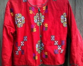 RESERVED FOR LOUISE Vintage Ethnic Multicolor Burlap/Cotton Linen Fabric Boho Hippie Jacket Sz.Small/Medium