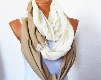 Cotton Soft Scarf Block, Gauze block fabric scarf, Infinity, Circular Scarf, Loop Scarf, Wrapped up, chunky scarf, SCARVES, ivory oatmeal