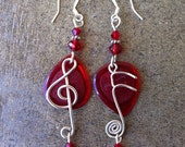 Red Treble Clef & Note Earrings