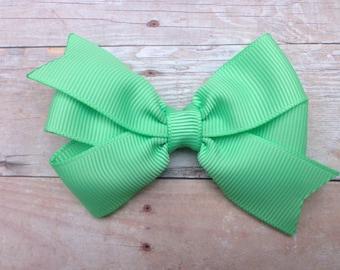 3 inch Mint green hair bow - hair bows, girls hair bows, girls bows, baby bows, 3 inch hair bows, toddler bows, green hair bow, green bow