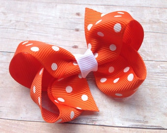 Orange & white polka dot hair bow - orange polka dot hair bow, 3 inch orange bow, hair bows, girls bows, baby bows, girls hair bows