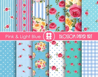 Flowers, Digital Paper Light Blue Pink Floral Digital Scrapbook, Cottage Papers, Floral Digital Paper, Wedding Papers - 1725