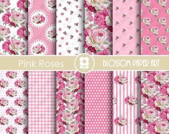 Rose Scrapbook Paper Pack Pink Digital Paper - Floral Scrapbooking, Cottage Papers, Floral Digital Paper, Wedding Papers - 1863