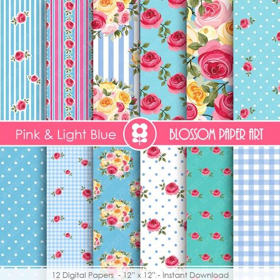 Papeles Digitales Floreados Rosa Celeste por blossompaperart