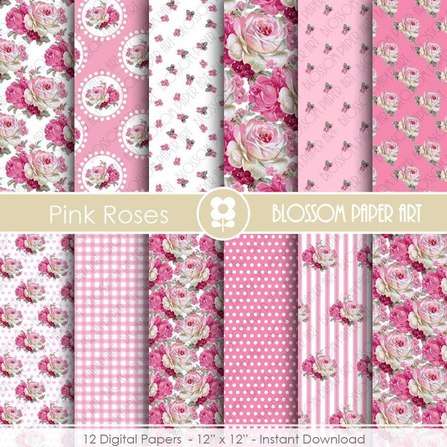 Papeles decorativos rosa flores shabby chic papeles - Papeles decorativos de pared ...