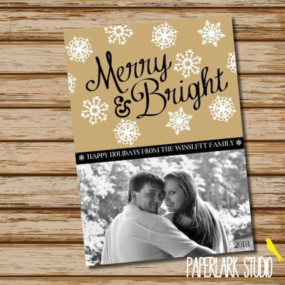 Merry & Bright /// Holiday Photo Card /// DIGITAL FILE