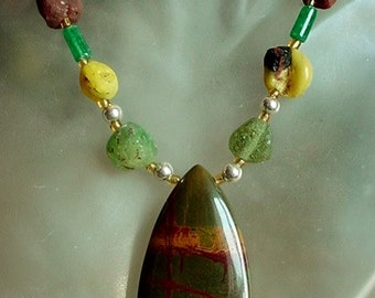"Multicolor Ancient Beads Necklace c/w Tear Drop Jasper Pendant  - Silver Coated Finish - 24""lg (61cm) lg"