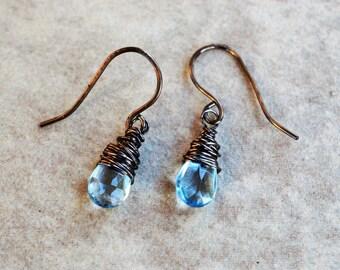 Genuine Blue Topaz Briolette Earrings Wire Wrapped in Vintage Bronze Handcrafted Ear Wires December Birthstone