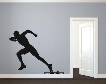 Track Runner Sprinter Silhouette Sports - Wall Decal Custom Vinyl Art Stickers