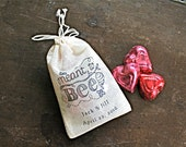 Personalized wedding favor bags, 3x4.5. Set of 50 double drawstring muslin bags.  Meant to Bee design in black on natural white cotton.