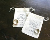 Personalized wedding ring bag set.  Rustic ring pillow alternative, ring warming ceremony.  Pair of muslin drawstring ring bags, Mr and Mrs.