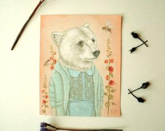 Original Painting: Leah Bear - Pretty in Pink Series, Burberry Prorsum fashion, designer, chic, clothing, woodland, cute, wildlife, animals