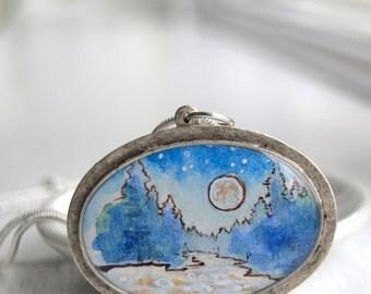 winter landscape, hand painted