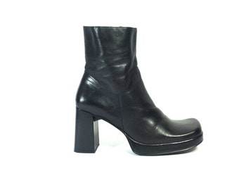 Black Leather Platform Ankle Boots 8 - Chunky High Heel Boots 8 - Grunge Gothic Club Kid Biker Boots 8