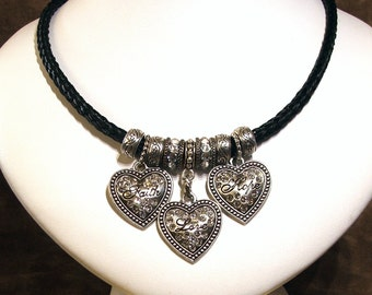 Love Hope Faith Heart Pendant Charms on Square Braided Horsehair Necklace with Western Engraved and Crystal Charms