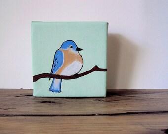 Little Canvas Painting of a Spring Blue Bird - Miniature Art - Mint Green Decor - Small Song Bird - Nature Wall Art - 4 x 4 Bird Painting
