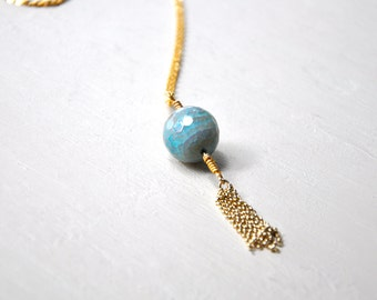 Amazonite and 22k Gold filled Tassel Necklace