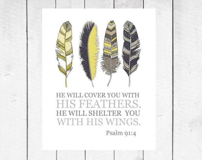 Christian Wall Art - Home Decor - Feather Decor - Psalm 91:4- Instant Download - 8x10