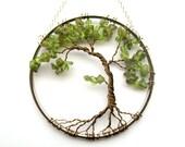 Peridot Olive Bonsai, Wire Tree of Life Wall Hanging, Sun Catcher, Peridot, Green Decor, Wisdom, Peace, Earth