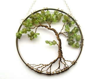 Peridot Olive Bonsai, Wire Tree of Life Wall Hanging, Sun Catcher, Peridot, Green Decor, Wisdom, Peace, Earth
