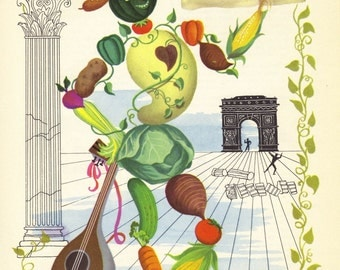SALE Kitchen Print,  VEGGIE Man,  Wall Decor, Antique Ephemera, Illustration, Book Plate, Book Print, Food Print, Provensen, A-8