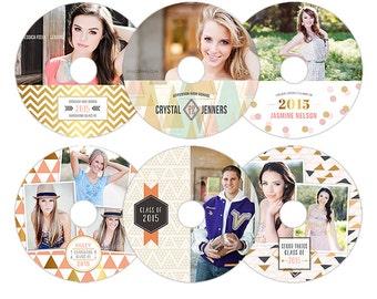 CD Dvd Label Templates for Photographers - Senior Graduation Templates - Grad Templates - CDL0914