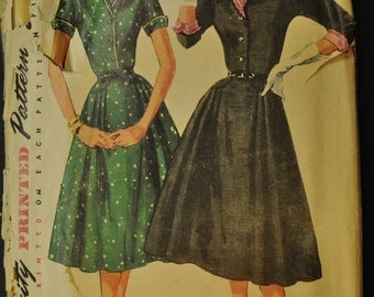 Simplicity 1425 Misses' One-Piece Dress with Detachable Collar and Cuffs Vintage 1950s Sewing Pattern