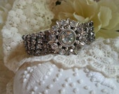 STARSHINE Rhinestone Bracelet for the Beautiful Bride Upcycled Rustic Chic Reclaimed Vintage Wedding Shabby Chic Classic Elegant