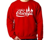 Enjoy Chicago Funny Novelty Sweatshirt Chi-Town Windy City Illinois Midwest Pride Retro Crewneck Sweater Mens Womens S-2XL Great Gift Idea