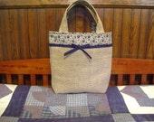 Primitive Style Burlap Tote Bag