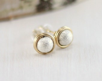 Gold and Silver Stud Earrings, 14k Gold Filled and Sterling Silver Mixed Metal Earrings Wire Wrapped Stardust Studs
